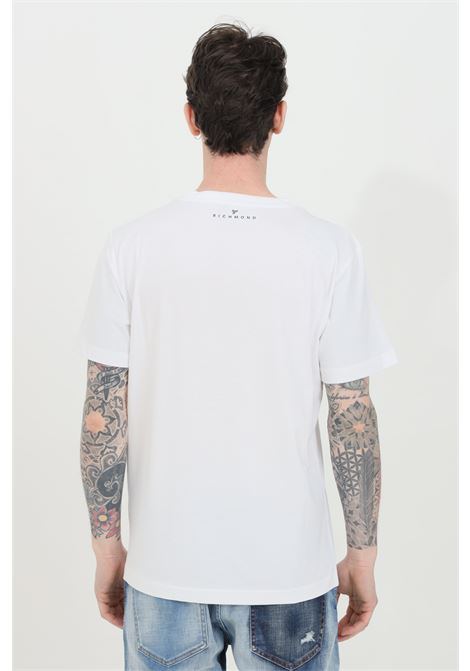 Crew neck T-shirt with maxi print on the front and silver silkscreen inserts RICHMOND | T-shirt | UMP21029TSOFWHITE