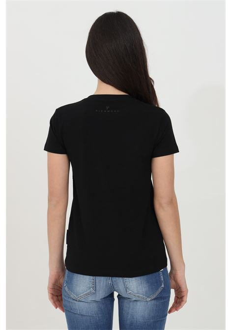 T-shirt donna nero richmond a manica corta modello girocollo con stampa logo frontale RICHMOND | T-shirt | UWP21018TSofLSBLACK