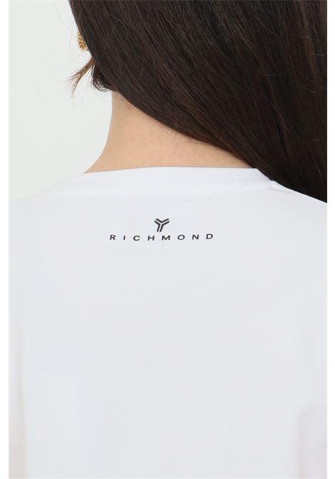 T-shirt donna bianco richmond a manica corta modello girocollo con stampa logo frontale RICHMOND | T-shirt | UWP21018TSofLSWHITE
