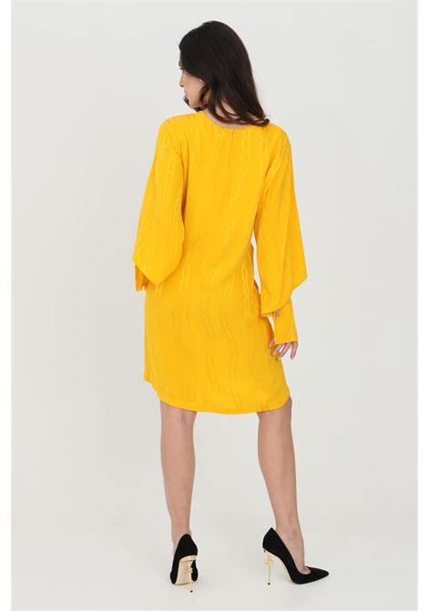 Abito donna giallo-arancio simona corsellini corto con stampa catena. Scollo a V con maniche lunghe svasate SIMONA CORSELLINI | Abiti | P21CPAB043-01-TJAQ00200501