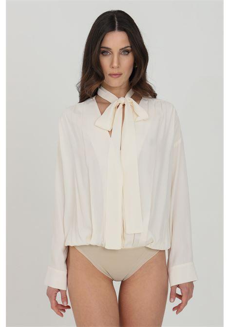 Body camicia donna panna simona corsellini elegante in misto seta SIMONA CORSELLINI | Body | P21CPBD005-01-TACE00020359