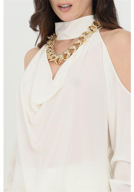 Blusa donna panna simona corsellini con maniche a volant in organza. Catena al collo in oro light. Modello comodo svasato con leggera trasparenza SIMONA CORSELLINI | Bluse | P21CPBL001-01-TCDC00070359