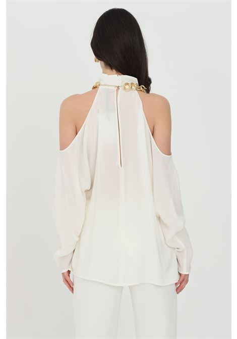Cream blouse with ruffled sleeves in organza. Light gold chain. Comfortable model with light transparency. Simona corsellini SIMONA CORSELLINI | Blouse | P21CPBL001-01-TCDC00070359