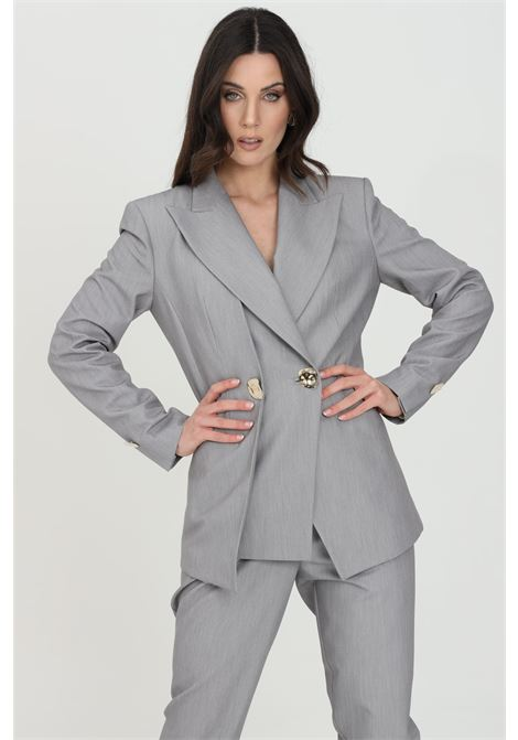 Grey jacket, double-breasted model with gold buttons. Simona corsellini SIMONA CORSELLINI | Blazer | P21CPGI007-01-TTEL00020505