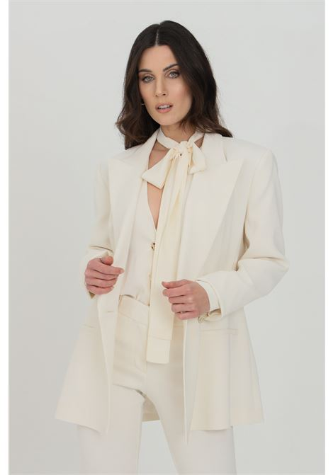 Cream jacket, double-breasted model with gold buttons and welt pockets. Classic cut. Simona corsellini SIMONA CORSELLINI | Blazer | P21CPGI012-01-TCAD00010359
