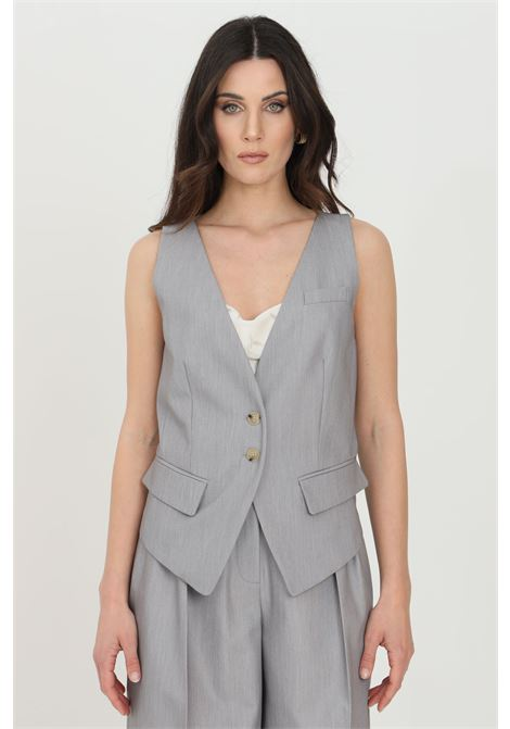 Gray gilet with buttons on the front. Asymmetrical cut. Simona corsellini SIMONA CORSELLINI | Gilet | P21CPGL003-01-TTEL00020505