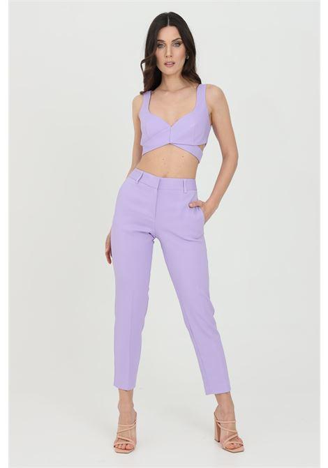 Pantalone donna lavanda simona corsellini elegante modello slim. Chiusura con zip e bottone SIMONA CORSELLINI | Pantaloni | P21CPPA017-01-TCAD00010500