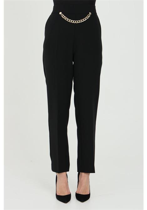 Pantalone donna nero simona corsellini elegante classic con catena in vita SIMONA CORSELLINI | Pantaloni | P21CPPA026-01-TCRP00020003