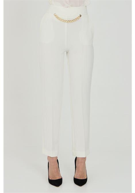 Pantalone donna panna simona corsellini elegante classic con catena in vita SIMONA CORSELLINI | Pantaloni | P21CPPA026-01-TCRP00020359