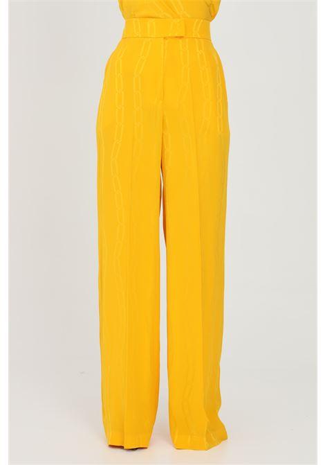 Pantalone donna giallo-arancio simona corsellini casual over con stampa catena SIMONA CORSELLINI | Pantaloni | P21CPPA032-01-TJAQ00200501