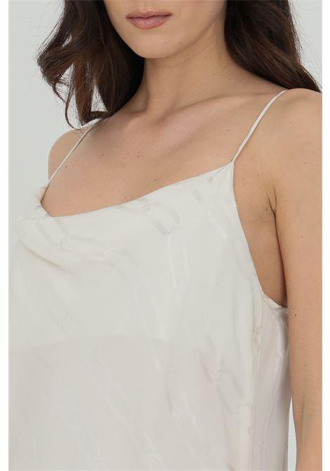 Top donna panna simona corsellini casual sblusato con stampa catene SIMONA CORSELLINI | Top | P21CPTO004-01-TJAQ00200359