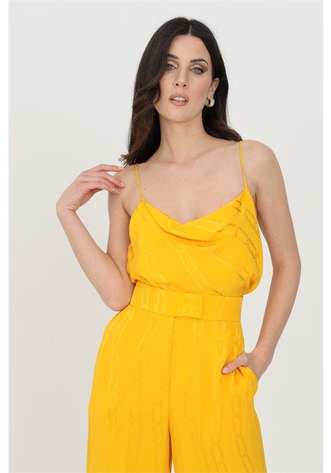 Top donna giallo-arancio simona corsellini casual sblusato con stampa catene SIMONA CORSELLINI | Top | P21CPTO004-01-TJAQ00200501