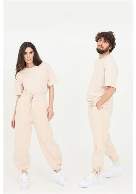 Pantaloni unisex beige the future casual con coulisse sul fondo THE FUTURE | Pantaloni | TF0006BEIGE