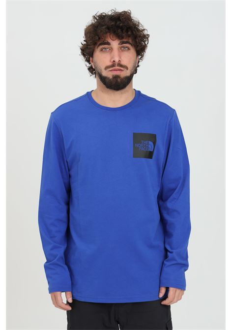 Blue t-shirt in solid color with logo print on the front. Long sleeve. The north face THE NORTH FACE | T-shirt | NF0A37FTCZ61CZ61
