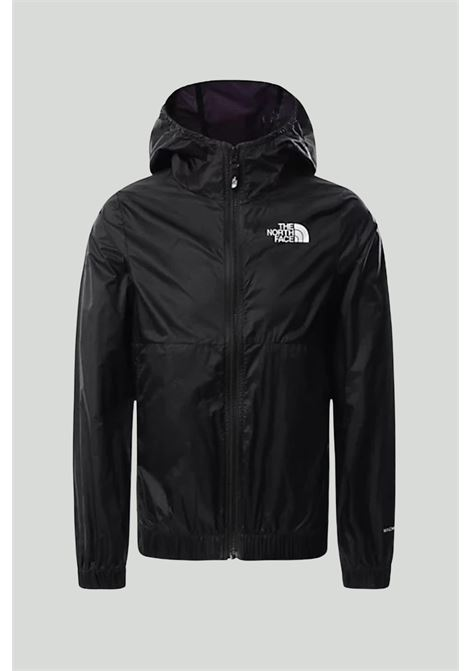 Black wind jacket with hood and zip, and contrasting front logo. Baby model. Brand: The north face THE NORTH FACE | Jacket | NF0A558JJK31JK31