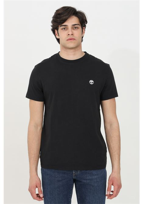 T-shirt dunstan river nero timberand a manica corta modello basic in tinta unita con logo ricamato a contrasto TIMBERLAND | T-shirt | TB0A2BPR00110011