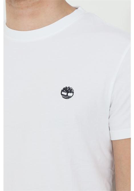 T-shirt dunstan river bianco timberand a manica corta modello basic in tinta unita con logo ricamato a contrasto TIMBERLAND | T-shirt | TB0A2BPR10011001