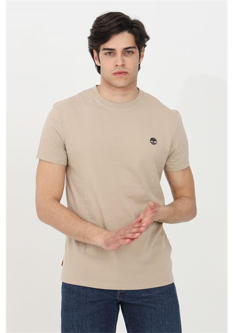T-shirt dunstan river sabbia timberand a manica corta modello basic in tinta unita con logo ricamato a contrasto TIMBERLAND | T-shirt | TB0A2BPR26912691