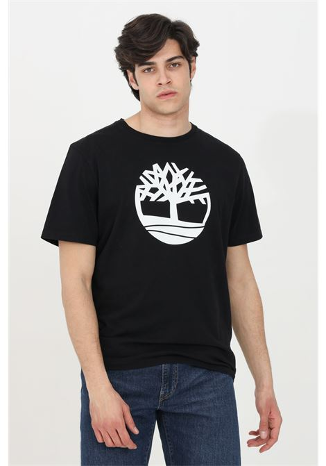 T-shirt uomo nero timberland a manica corta modello basic con stampa frontale a contrasto. Relax fit TIMBERLAND | T-shirt | TB0A2C2R00110011