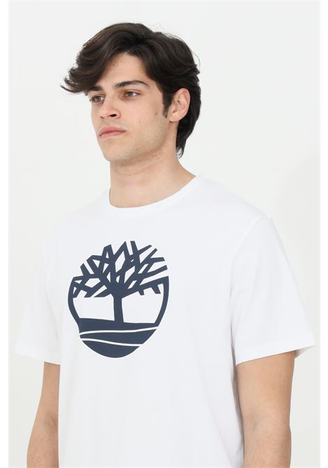 T-shirt uomo bianco timberland a manica corta modello basic con stampa frontale a contrasto. Relax fit TIMBERLAND | T-shirt | TB0A2C2R10011001
