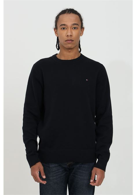 Black crew neck sweater in solid color and small logo on the front. Tommy hilfiger  TOMMY HILFIGER | Knitwear | MW0MW17351DW5