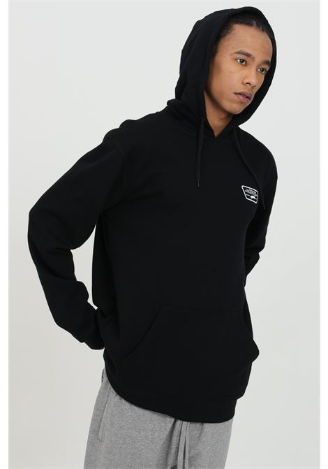 Black hoodie with back print, hood with laces and maxi pocket on the front. Vans  VANS | Sweatshirt | VN0A45CJBLK1BLK1