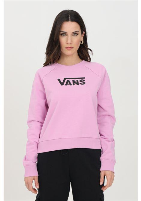 Felpa donna rosa vans girocollo in tinta unita con logo frontale a contrasto, fondo e polsini elastici. Modello comodo VANS | Felpe | VN0A47TH0FS10FS1