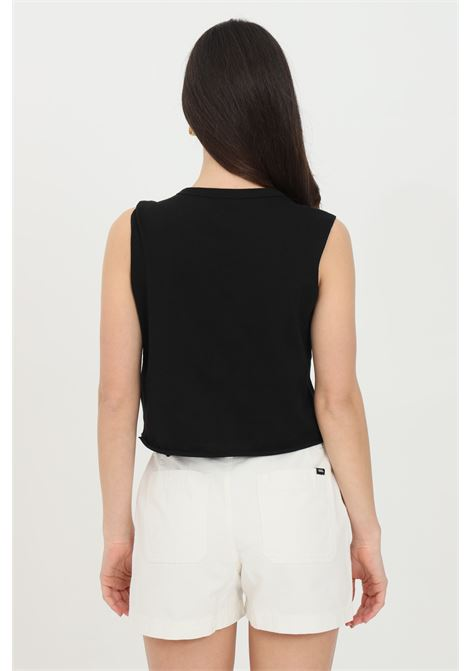 T-shirt donna nero vans smanicato in tinta unita con stampa logo frontale a contrasto, taglio corto VANS | T-shirt | VN0A49ZKBLK1BLK1