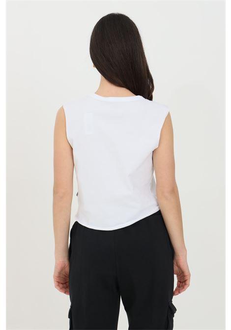 T-shirt donna bianco vans smanicato in tinta unita con stampa logo frontale a contrasto, taglio corto VANS | T-shirt | VN0A49ZKWHT1WHT1