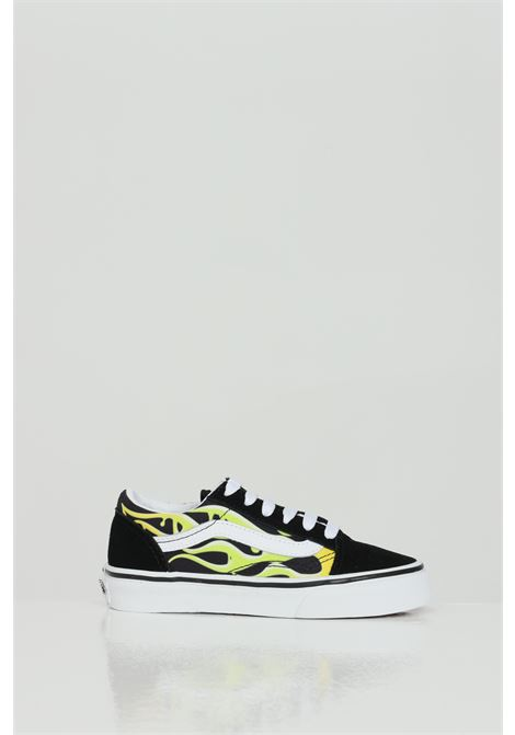 Black Old Skool sneakers with flame print, contrasting logo and closure with laces. Vans VANS | Sneakers | VN0A4BUU31M131M1