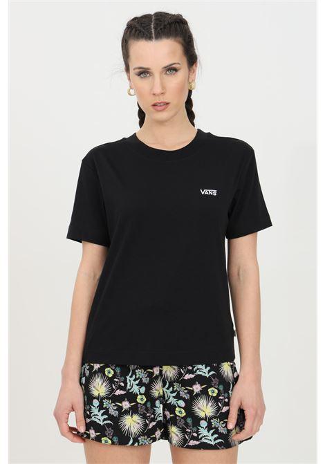 T-shirt donna nero vans a manica corta in tinta unita con logo frontale a contrasto in dimensioni ridotte, modello basic VANS | T-shirt | VN0A4MFLBLK1BLK1