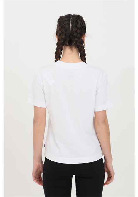T-shirt donna bianco vans a manica corta in tinta unita con logo frontale a contrasto in dimensioni ridotte, modello basic VANS | T-shirt | VN0A4MFLWHT1WHT1
