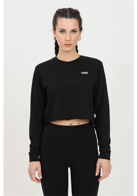 T-shirt donna nero vans manica lunga in tinta unita con logo a contrasto, taglio corto. Modello comodo VANS | T-shirt | VN0A4OUQBLK1BLK1