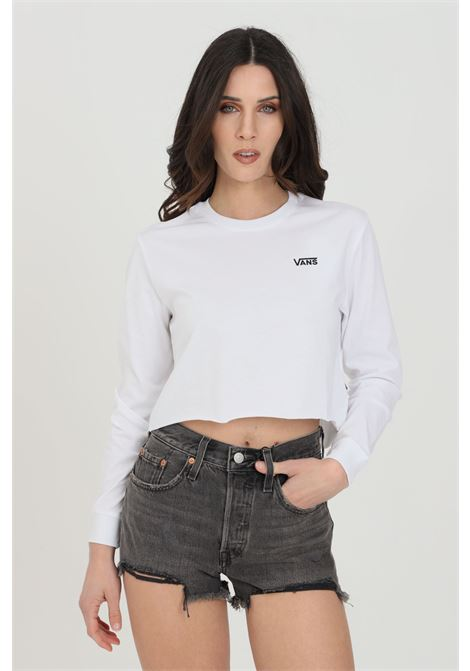 T-shirt donna bianco vans manica lunga in tinta unita con logo a contrasto, taglio corto. Modello comodo VANS | T-shirt | VN0A4OUQWHT1WHT1