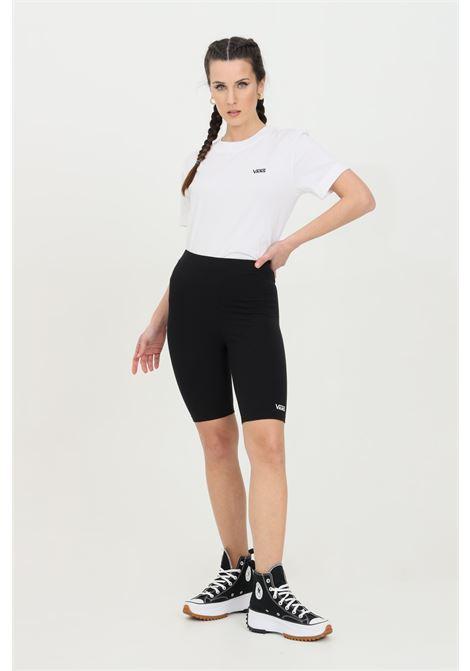 Shorts Flying V donna nero vans sport modello ciclista in tinta unita e logo a contrasto. Vita alta con fascia elasticizzata VANS | Shorts | VN0A4Q4BBLK1BLK1