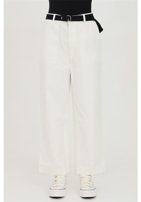 Pantalone a zampa clark donna bianco vans casual in tinta unita con cintura in vita e tasche laterali, fondo ampio VANS | Pantaloni | VN0A53LXFS81FS81