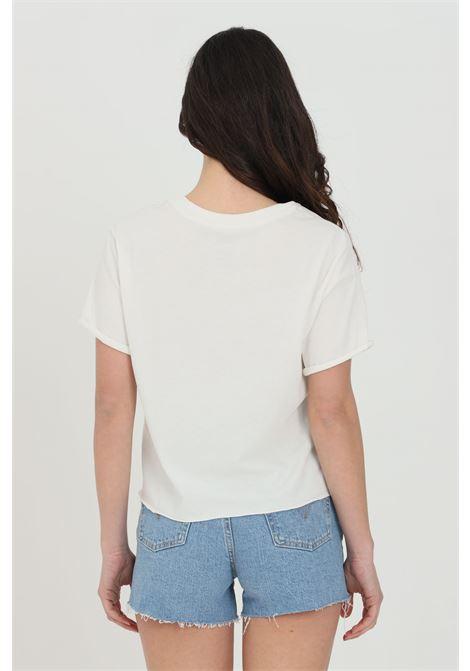 T-shirt donna bianco vans manica corta in tinta unita con stampa logo frontale con fiori VANS | T-shirt | VN0A53Q2FS81FS81
