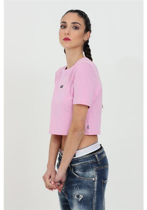 T-shirt donna rosa vans a manica corta in tinta unita con logo centrale in dimensioni ridotte, taglio corto VANS | T-shirt | VN0A54QU0FS10FS1