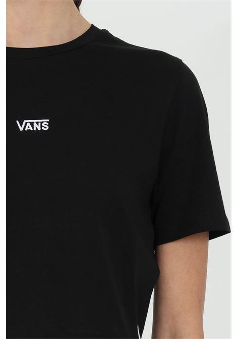 T-shirt donna nero vans a manica corta in tinta unita con logo centrale in dimensioni ridotte, taglio corto VANS | T-shirt | VN0A54QUBLK1BLK1