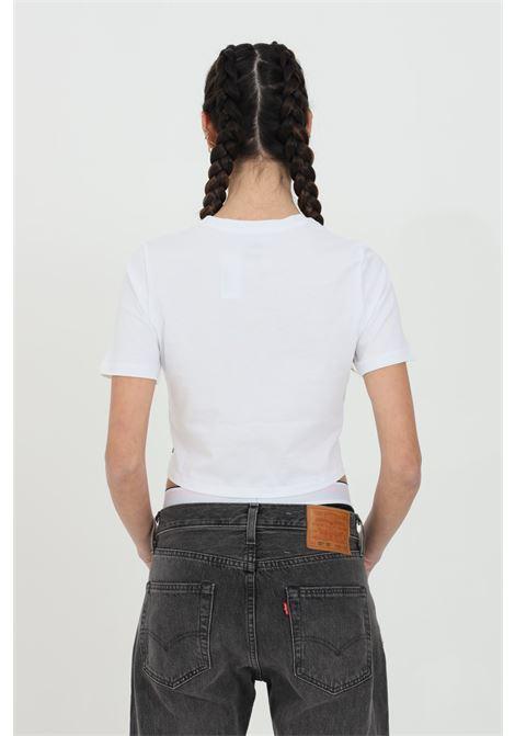T-shirt donna bianco vans a manica corta in tinta unita con logo centrale in dimensioni ridotte, taglio corto VANS | T-shirt | VN0A54QUWHT1WHT1