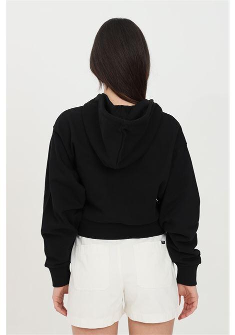 Felpa donna nero vans cappuccio in tinta unita stampa frontale a contrasto, fondo e polsini elastici, taglio corto VANS | Felpe | VN0A5APVBLK1BLK1