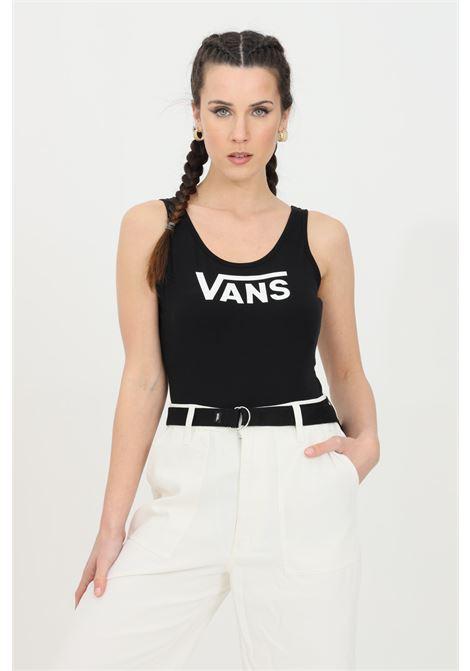 Body donna nero vans casual in tinta unita con logo frontale a contrasto. Modello slim, chiusura con ciappe VANS | Body | VN0A5ETPBLK1BLK1