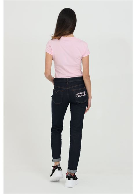 Black jeans with high waist and logo on the pocket. Brand: Versace jeans Couture VERSACE JEANS COUTURE | Jeans | A1HWA0K460558904