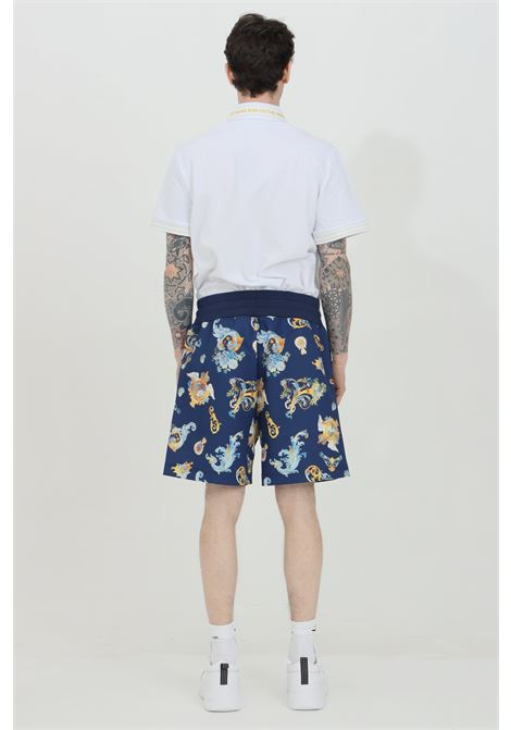 Blue patterned shorts with spring at the waist. Brand: Versace Jeans Couture  VERSACE JEANS COUTURE | Shorts | A4GWA122S0999200