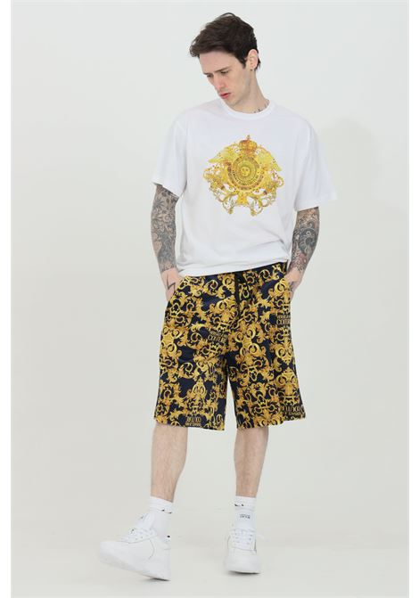 Shorts uomo blu con stampa barocca Versace Jeans Couture casual modello over VERSACE JEANS COUTURE | Shorts | A4GWA127S0034200