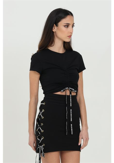 Gonna donna nera Versace Jeans Couture corta con incrocio laterale con lacci logati VERSACE JEANS COUTURE | Gonne | A9HWA31513988899