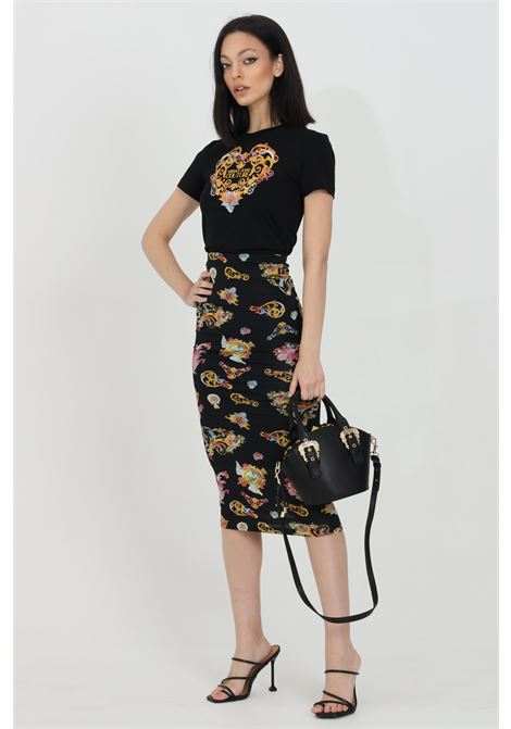 Gonna donna nera Versace Jeans Couture midi con stampa pattern barocca VERSACE JEANS COUTURE | Gonne | A9HWA330S0020899