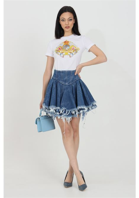 High waist denim skirt with fringed flounces VERSACE JEANS COUTURE | Skirt | A9HWA354AOB7X904