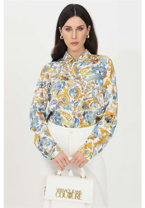 Multicolored white shirt in saten with floral print. Brand: Versace Jeans Couture VERSACE JEANS COUTURE | Shirt | B0HWA628S0879003