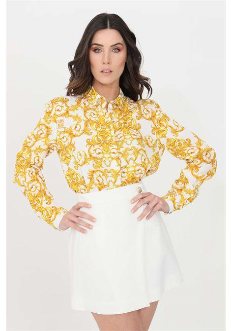 Camicia donna fantasia oro-bianco Versace Jeans Couture elegante VERSACE JEANS COUTURE | Camicie | B0HWA628S0990003
